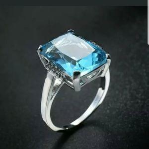 18k 💎gold Plated huge statement Blue Topaz Ring
